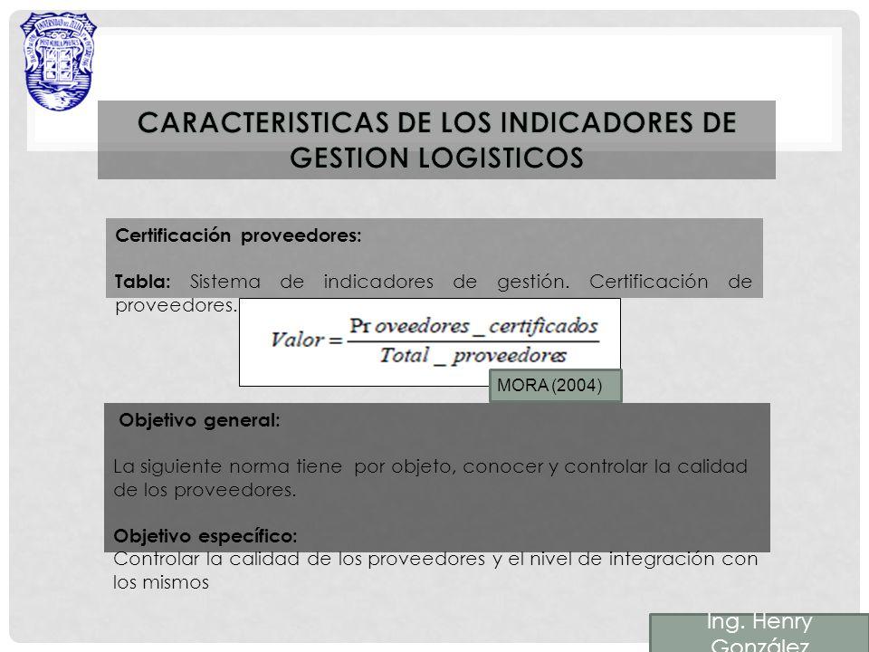 Certificación proveedores: Tabla: Sistema de indicadores de gestión.