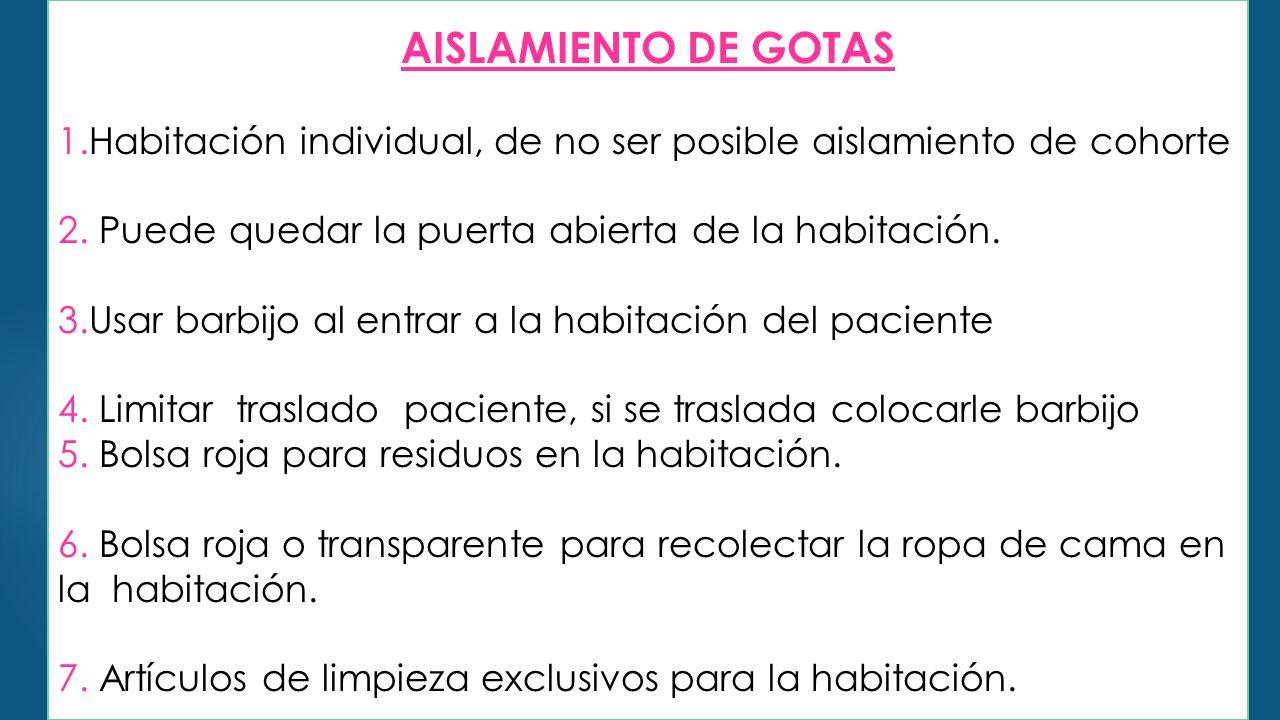 AISLAMIENTO DE GOTAS 1.Habitación individual, de no ser posible aislamiento de cohorte 2.