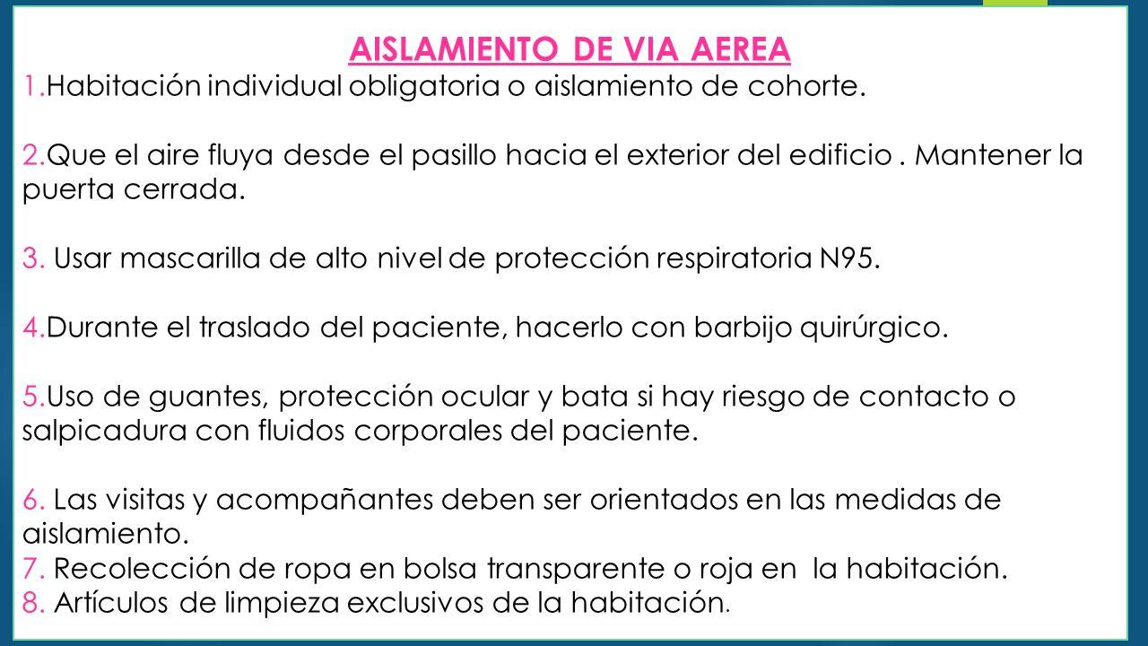 AISLAMIENTO DE VIA AEREA 1.Habitación individual obligatoria o aislamiento de cohorte.
