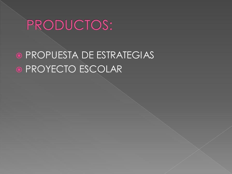  PROPUESTA DE ESTRATEGIAS  PROYECTO ESCOLAR