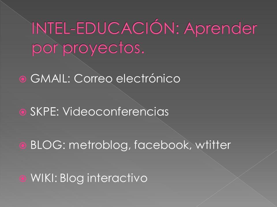  GMAIL: Correo electrónico  SKPE: Videoconferencias  BLOG: metroblog, facebook, wtitter  WIKI: Blog interactivo