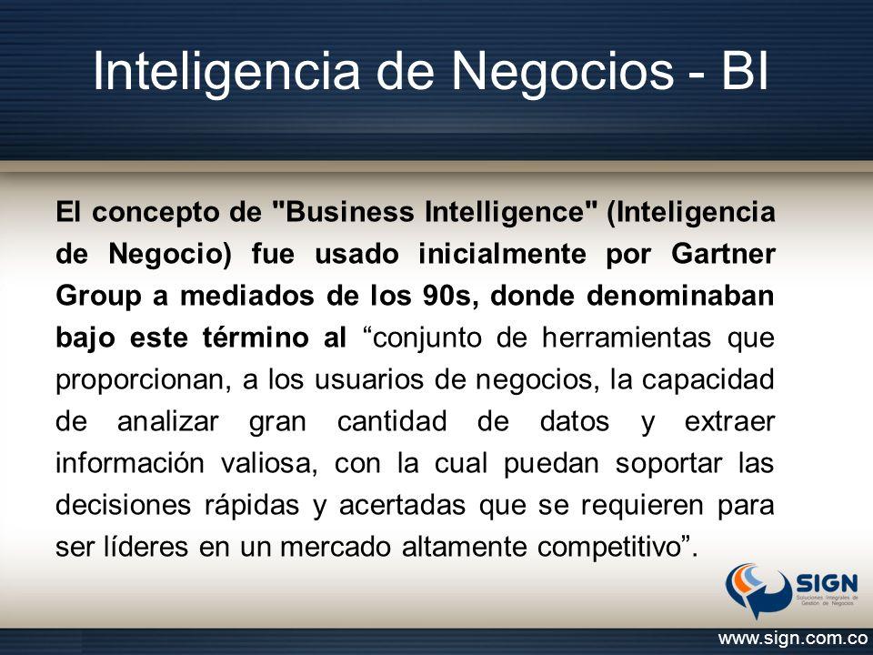 Inteligencia de Negocios - BI www.sign.com.co El concepto de