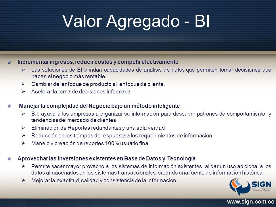 Valor Agregado - BI www.sign.com.co Incrementar ingresos, reducir costos y competir efectivamente  Las soluciones de BI brindan capacidades de anális