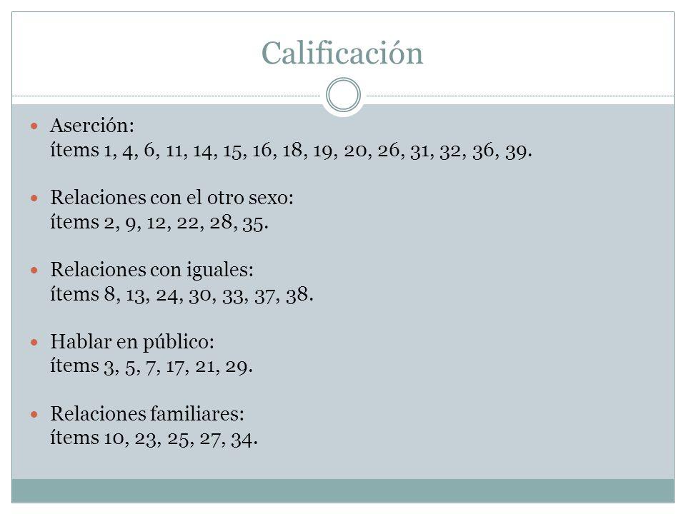 Calificación Aserción: ítems 1, 4, 6, 11, 14, 15, 16, 18, 19, 20, 26, 31, 32, 36, 39.