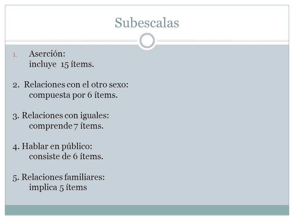 Subescalas 1. Aserción: incluye 15 ítems. 2. Relaciones con el otro sexo: compuesta por 6 ítems.