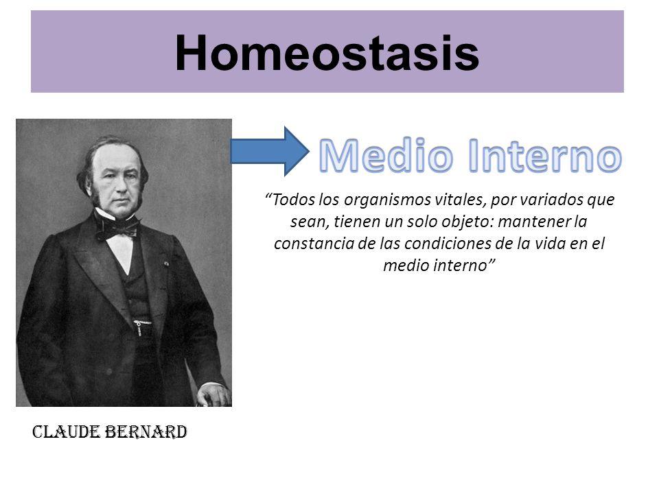 Walter B.Cannon Homeostasis: Mantención estable del medio interno del organismo.