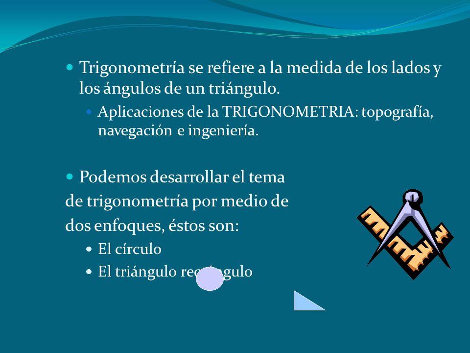 Trigonometría se refiere a la medida de los lados y los ángulos de un triángulo.
