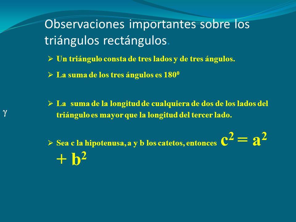 Observaciones importantes sobre los triángulos rectángulos.