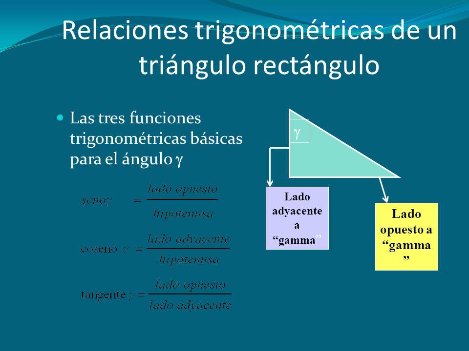 Relaciones trigonométricas de un triángulo rectángulo Las tres funciones trigonométricas básicas para el ángulo   Lado adyacente a gamma Lado opuesto a gamma