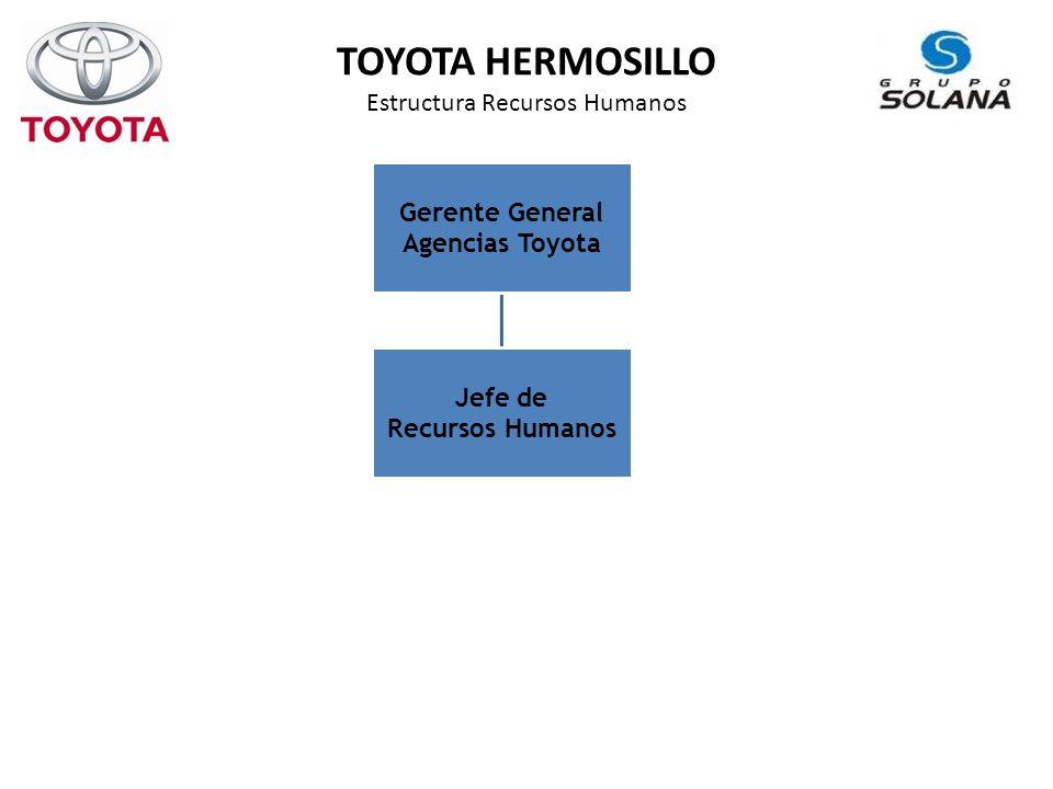 TOYOTA HERMOSILLO Estructura Recursos Humanos Gerente General Agencias Toyota Jefe de Recursos Humanos