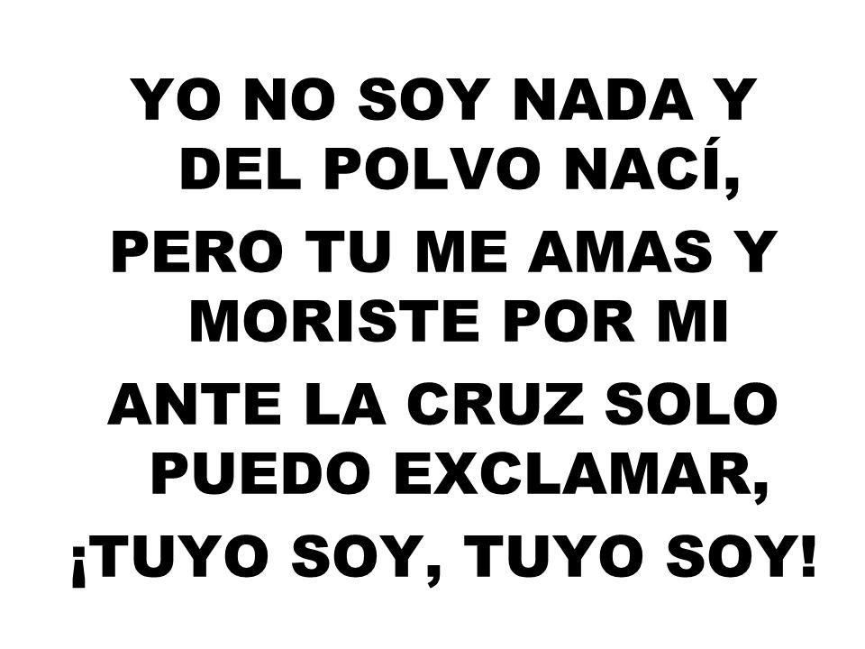 YO NO SOY NADA Y DEL POLVO NACÍ, PERO TU ME AMAS Y MORISTE POR MI ANTE LA CRUZ SOLO PUEDO EXCLAMAR, ¡TUYO SOY, TUYO SOY!