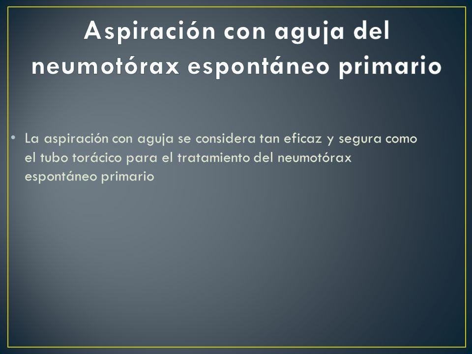 La aspiración con aguja se considera tan eficaz y segura como el tubo torácico para el tratamiento del neumotórax espontáneo primario