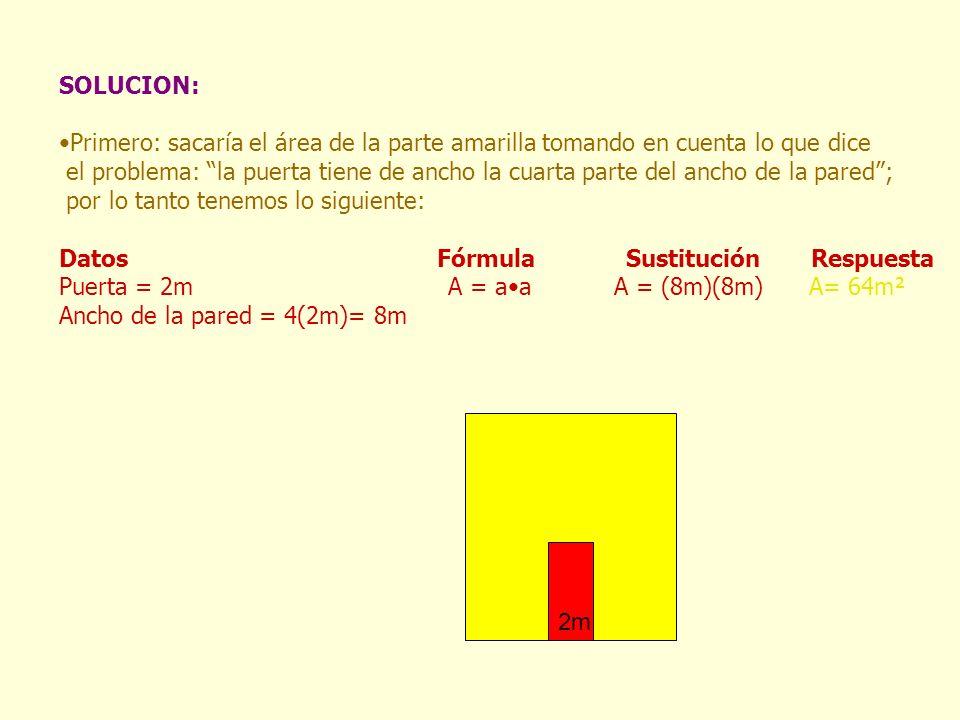 SOLUCION: Primero: sacaría el área de la parte amarilla tomando en cuenta lo que dice el problema: la puerta tiene de ancho la cuarta parte del ancho de la pared ; por lo tanto tenemos lo siguiente: Datos Fórmula Sustitución Respuesta Puerta = 2m A = aa A = (8m)(8m) A= 64m² Ancho de la pared = 4(2m)= 8m 2m