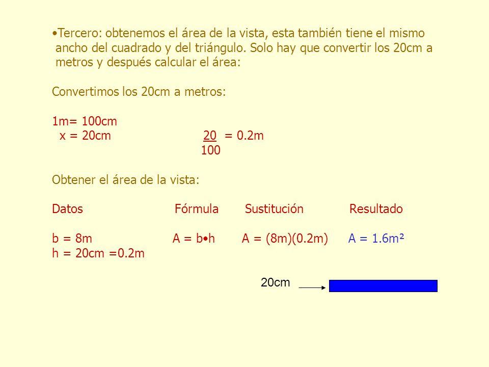 20cm Tercero: obtenemos el área de la vista, esta también tiene el mismo ancho del cuadrado y del triángulo. Solo hay que convertir los 20cm a metros