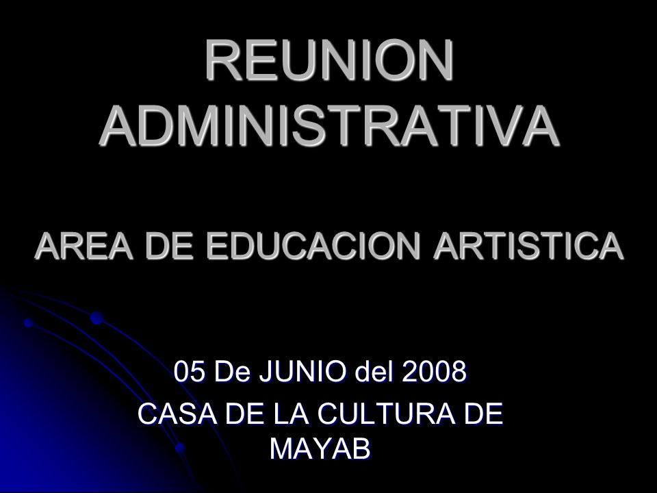 REUNION ADMINISTRATIVA AREA DE EDUCACION ARTISTICA 05 De JUNIO del 2008 CASA DE LA CULTURA DE MAYAB