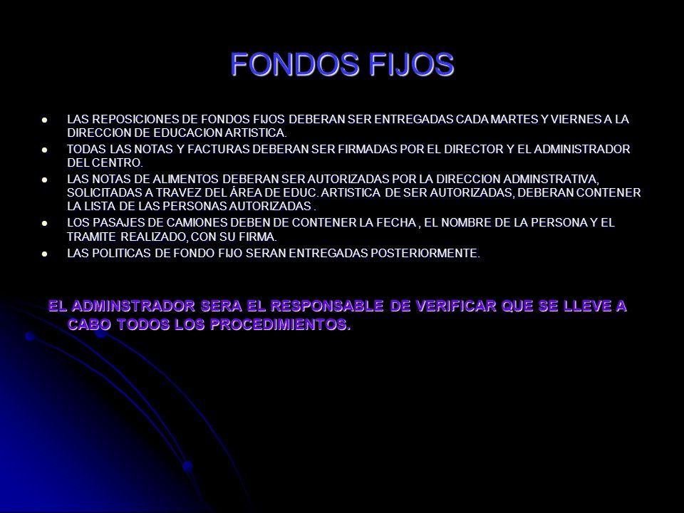 FONDOS FIJOS LAS REPOSICIONES DE FONDOS FIJOS DEBERAN SER ENTREGADAS CADA MARTES Y VIERNES A LA DIRECCION DE EDUCACION ARTISTICA.