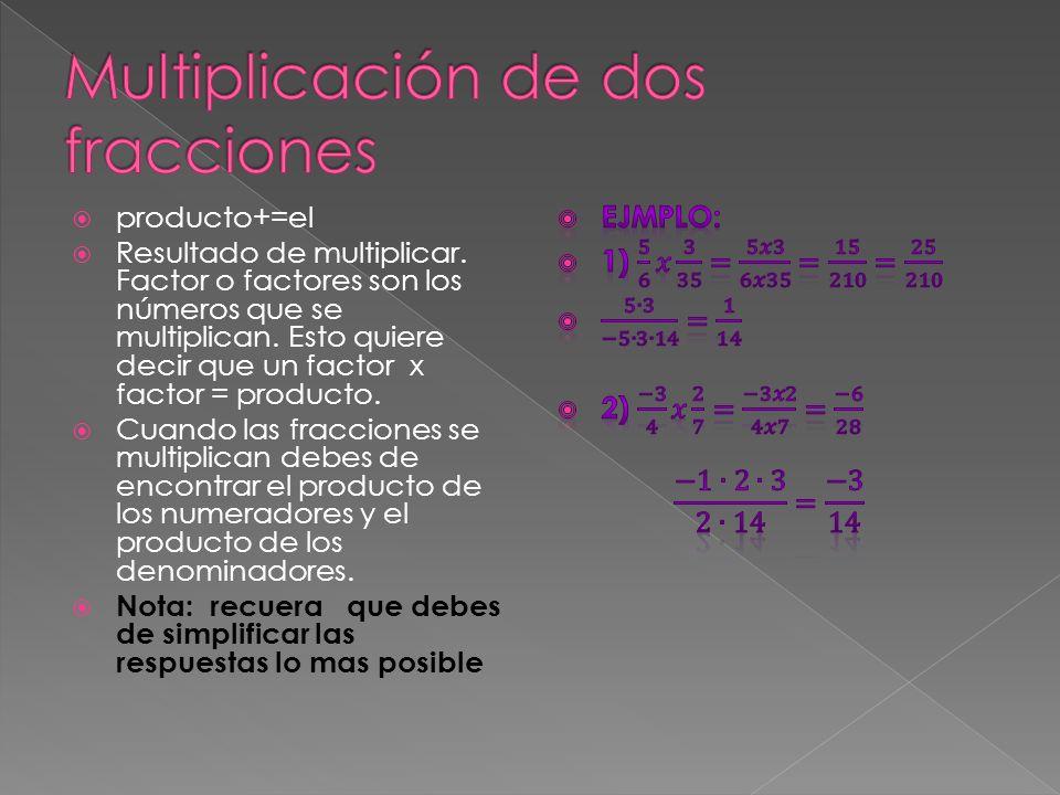  producto+=el  Resultado de multiplicar. Factor o factores son los números que se multiplican.