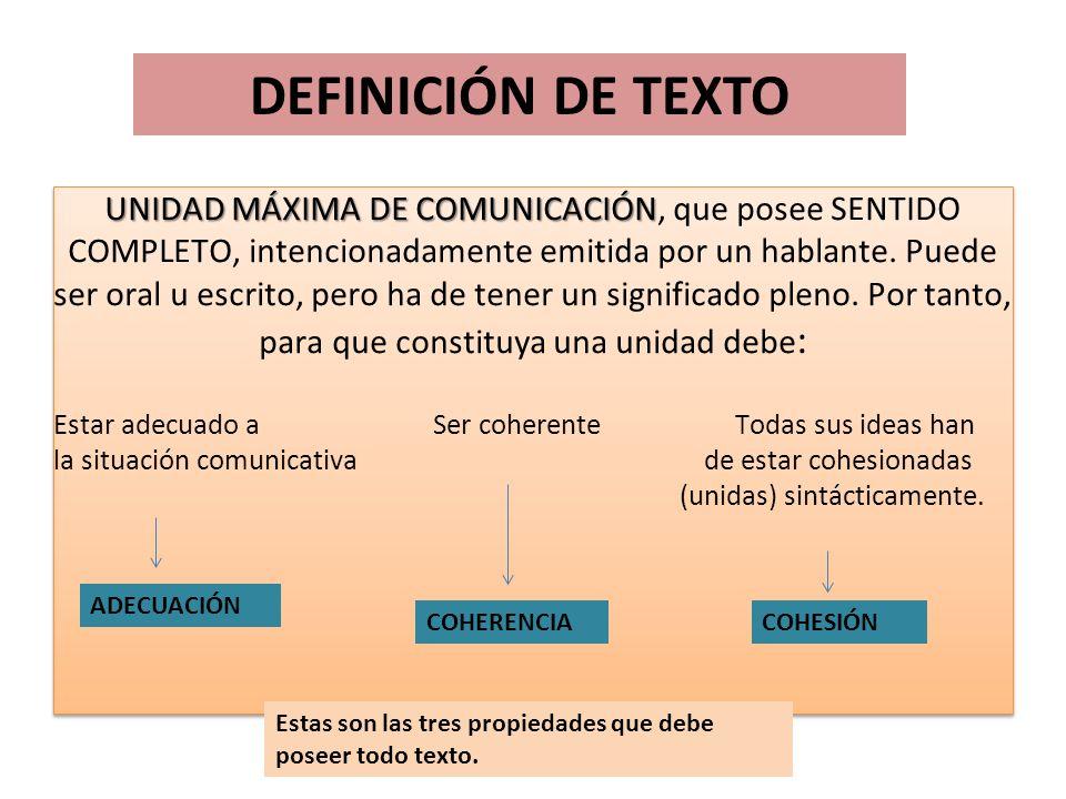 DEFINICIÓN DE TEXTO UNIDAD MÁXIMA DE COMUNICACIÓN UNIDAD MÁXIMA DE COMUNICACIÓN, que posee SENTIDO COMPLETO, intencionadamente emitida por un hablante.
