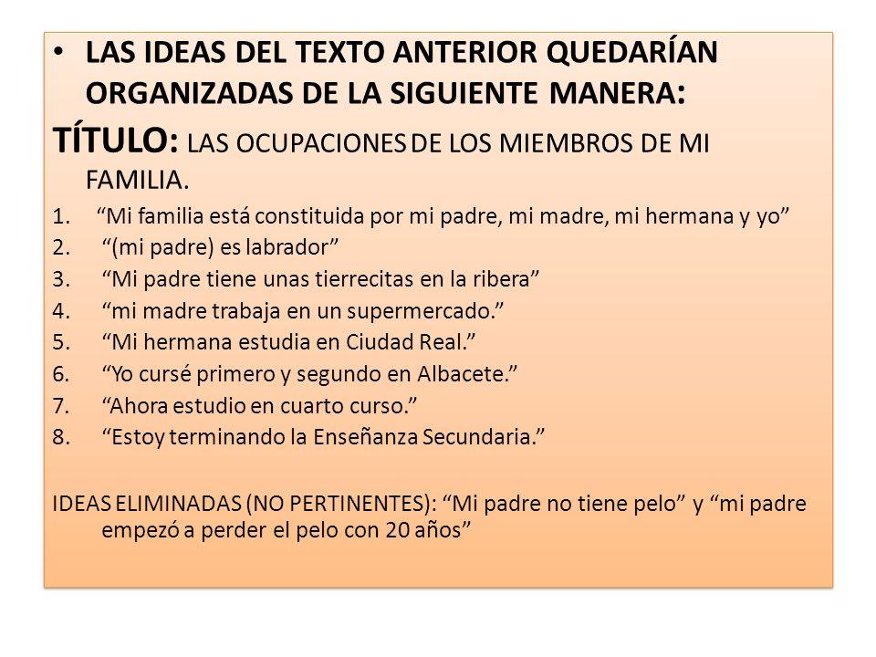 LAS IDEAS DEL TEXTO ANTERIOR QUEDARÍAN ORGANIZADAS DE LA SIGUIENTE MANERA : TÍTULO: LAS OCUPACIONES DE LOS MIEMBROS DE MI FAMILIA.