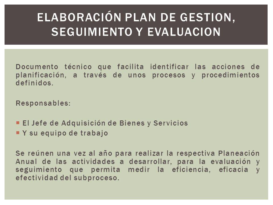Documento técnico que facilita identificar las acciones de planificación, a través de unos procesos y procedimientos definidos.
