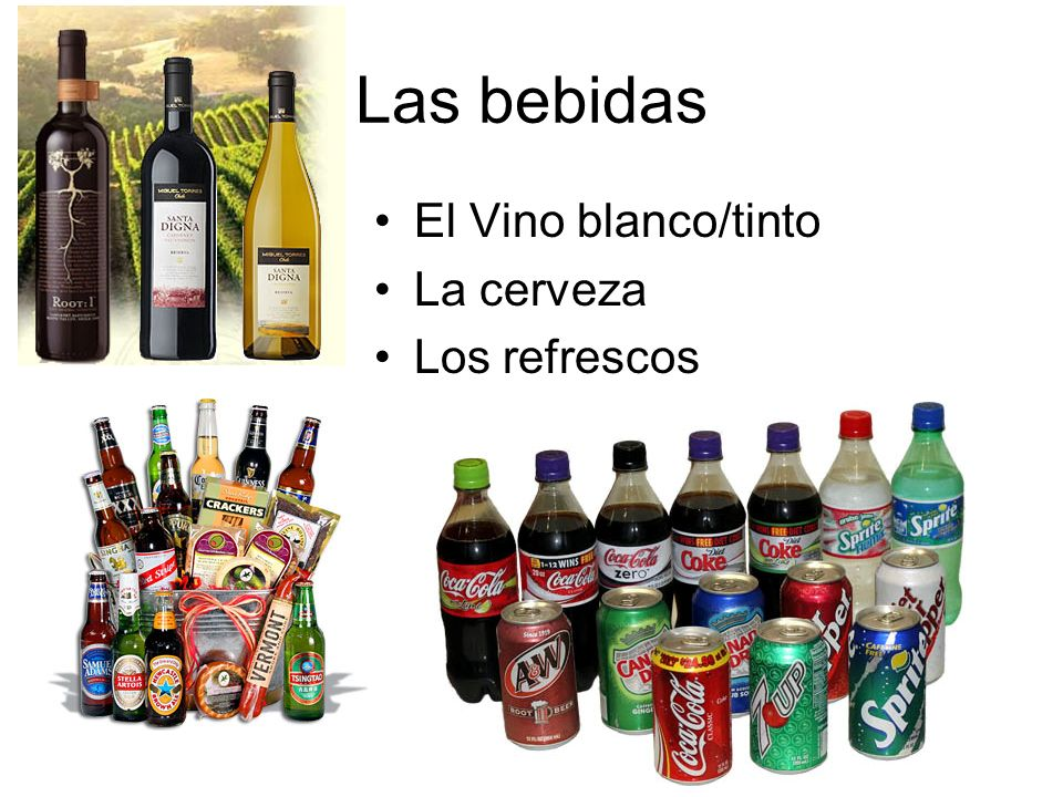 Las bebidas El Vino blanco/tinto La cerveza Los refrescos