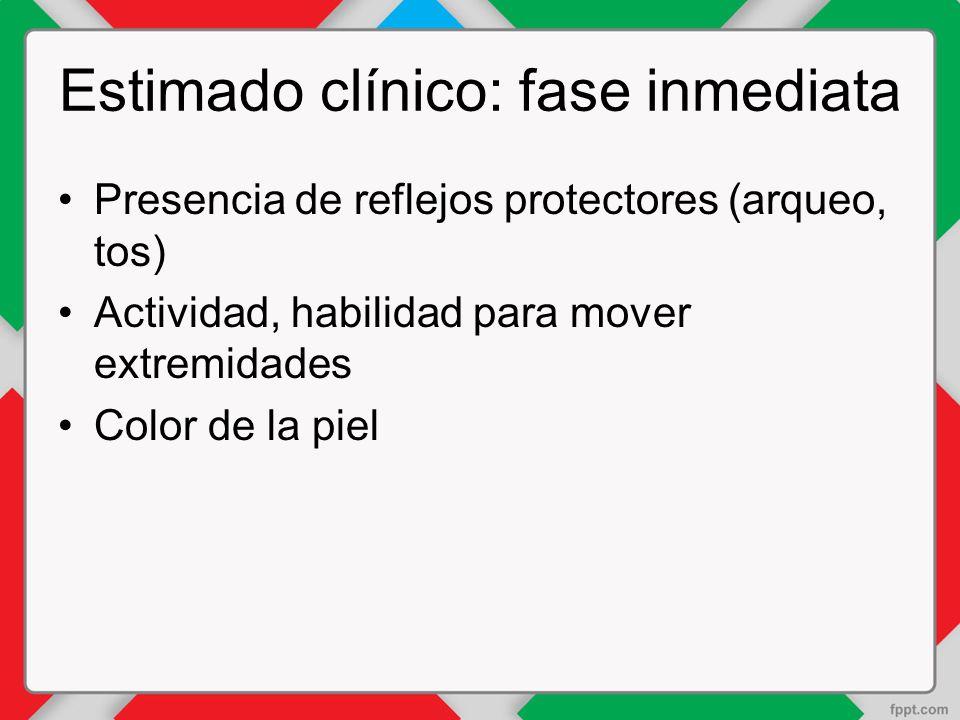 Estimado clínico: fase inmediata Presencia de reflejos protectores (arqueo, tos) Actividad, habilidad para mover extremidades Color de la piel
