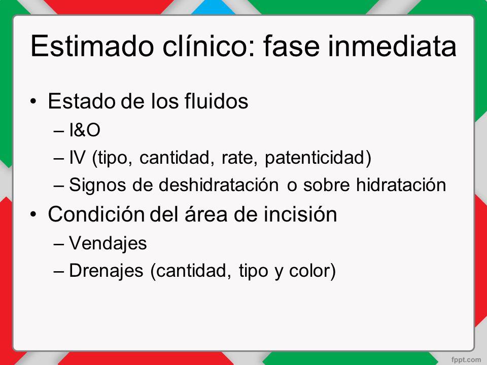 Estimado clínico: fase inmediata Estado de los fluidos –I&O –IV (tipo, cantidad, rate, patenticidad) –Signos de deshidratación o sobre hidratación Condición del área de incisión –Vendajes –Drenajes (cantidad, tipo y color)