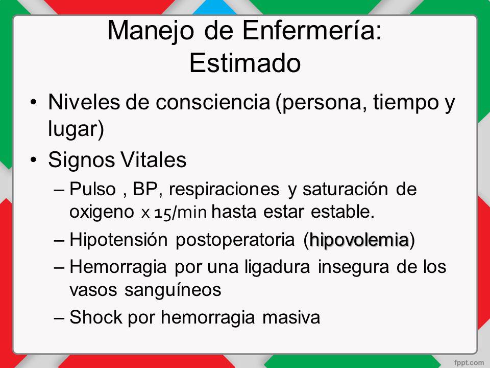 Manejo de Enfermería: Estimado Niveles de consciencia (persona, tiempo y lugar) Signos Vitales –Pulso, BP, respiraciones y saturación de oxigeno x 15/min hasta estar estable.