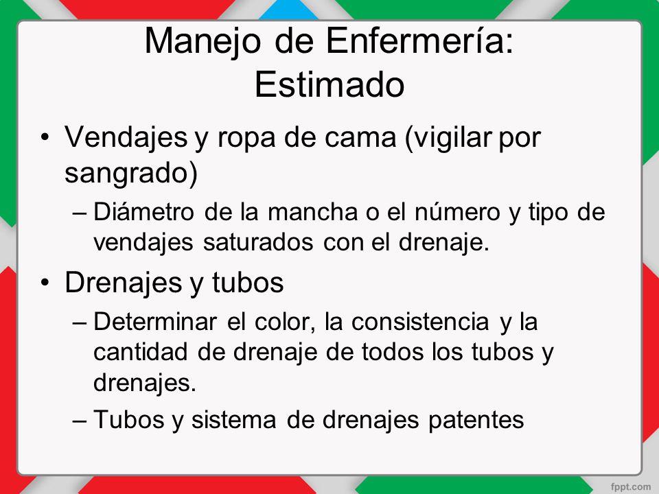 Manejo de Enfermería: Estimado Vendajes y ropa de cama (vigilar por sangrado) –Diámetro de la mancha o el número y tipo de vendajes saturados con el drenaje.