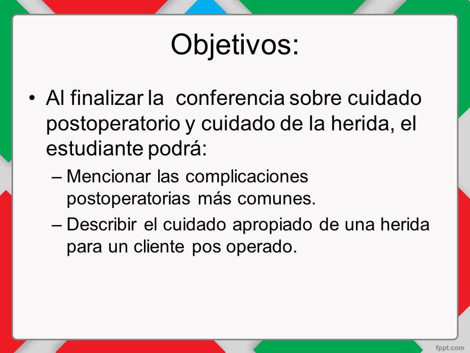 Objetivos: Al finalizar la conferencia sobre cuidado postoperatorio y cuidado de la herida, el estudiante podrá: –Mencionar las complicaciones postoperatorias más comunes.