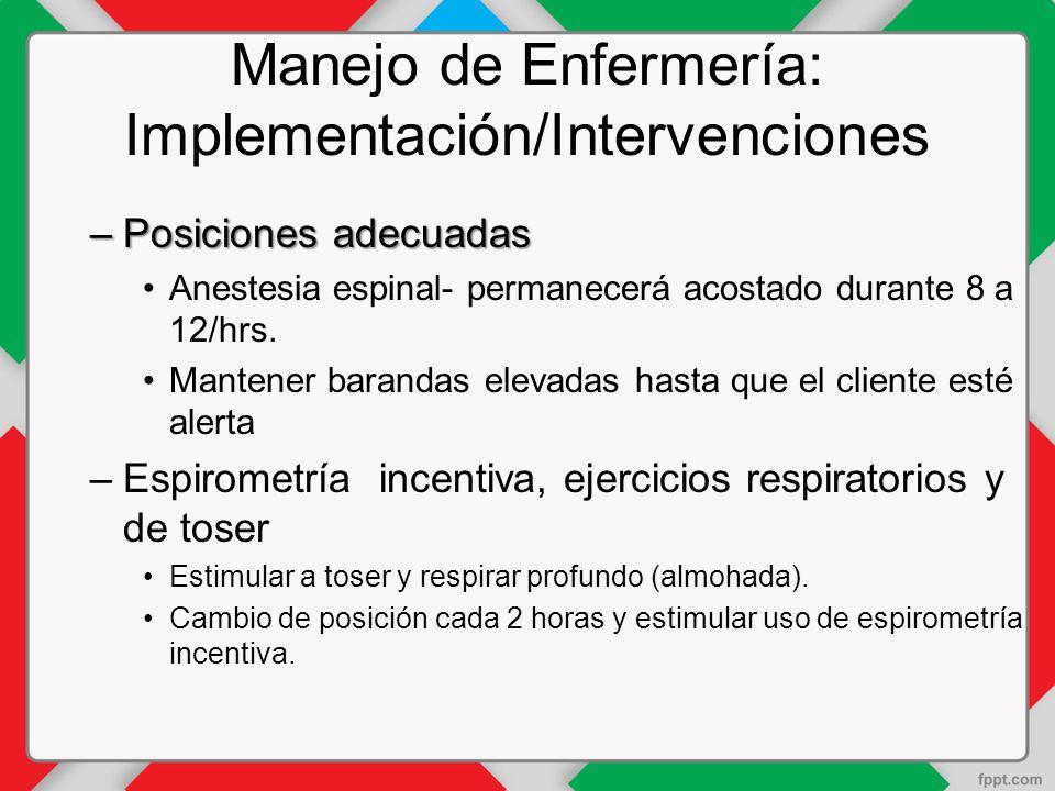 Manejo de Enfermería: Implementación/Intervenciones –Posiciones adecuadas Anestesia espinal- permanecerá acostado durante 8 a 12/hrs.