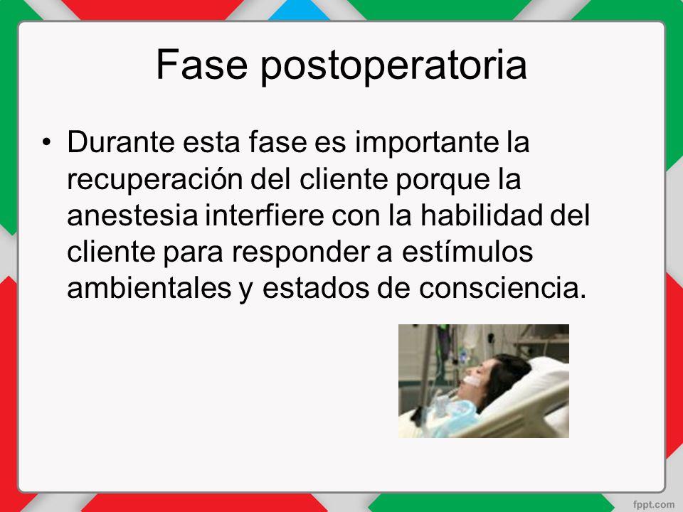 Fase postoperatoria Durante esta fase es importante la recuperación del cliente porque la anestesia interfiere con la habilidad del cliente para responder a estímulos ambientales y estados de consciencia.