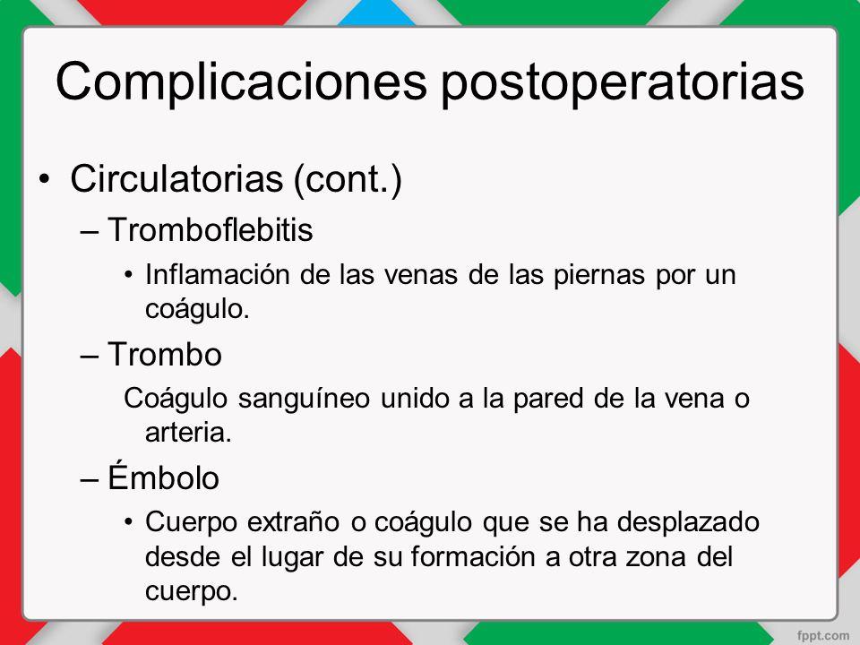 Complicaciones postoperatorias Circulatorias (cont.) –Tromboflebitis Inflamación de las venas de las piernas por un coágulo.