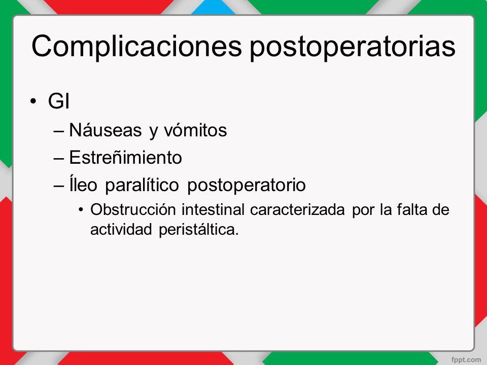 Complicaciones postoperatorias GI –Náuseas y vómitos –Estreñimiento –Íleo paralítico postoperatorio Obstrucción intestinal caracterizada por la falta de actividad peristáltica.