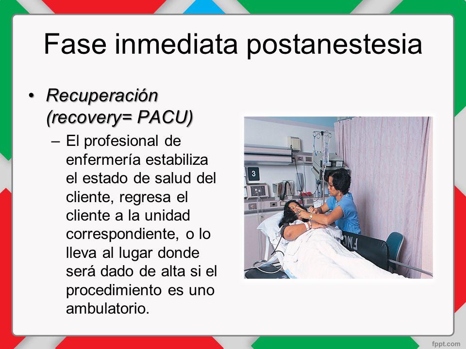 Fase inmediata postanestesia Recuperación (recovery= PACU)Recuperación (recovery= PACU) –El profesional de enfermería estabiliza el estado de salud del cliente, regresa el cliente a la unidad correspondiente, o lo lleva al lugar donde será dado de alta si el procedimiento es uno ambulatorio.