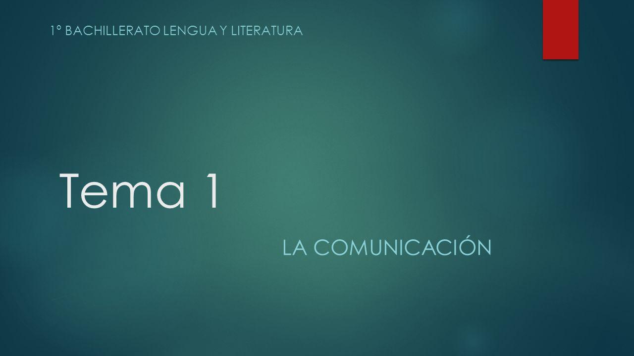 Tema 1 1º BACHILLERATO LENGUA Y LITERATURA LA COMUNICACIÓN