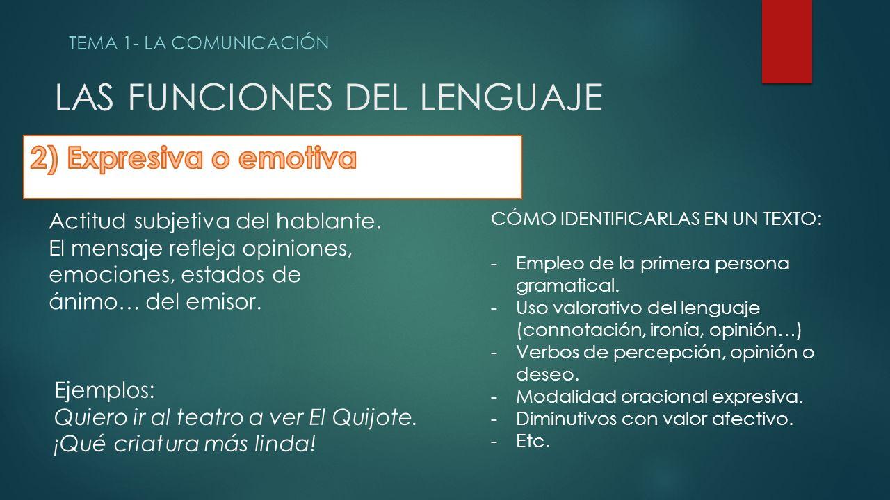 LAS FUNCIONES DEL LENGUAJE TEMA 1- LA COMUNICACIÓN Actitud subjetiva del hablante.