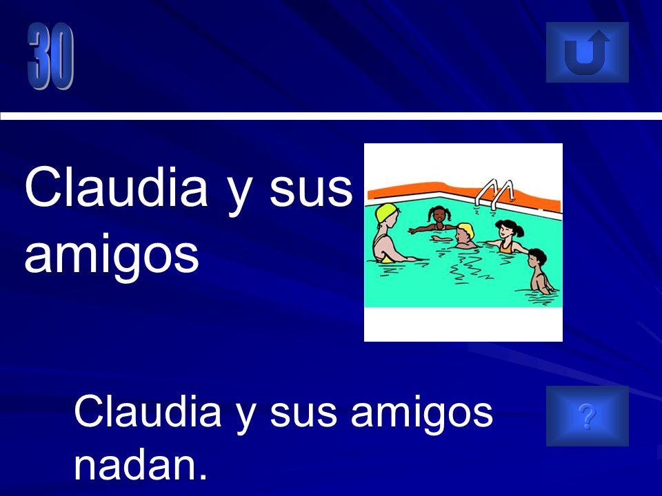 Claudia y sus amigos nadan. Claudia y sus amigos