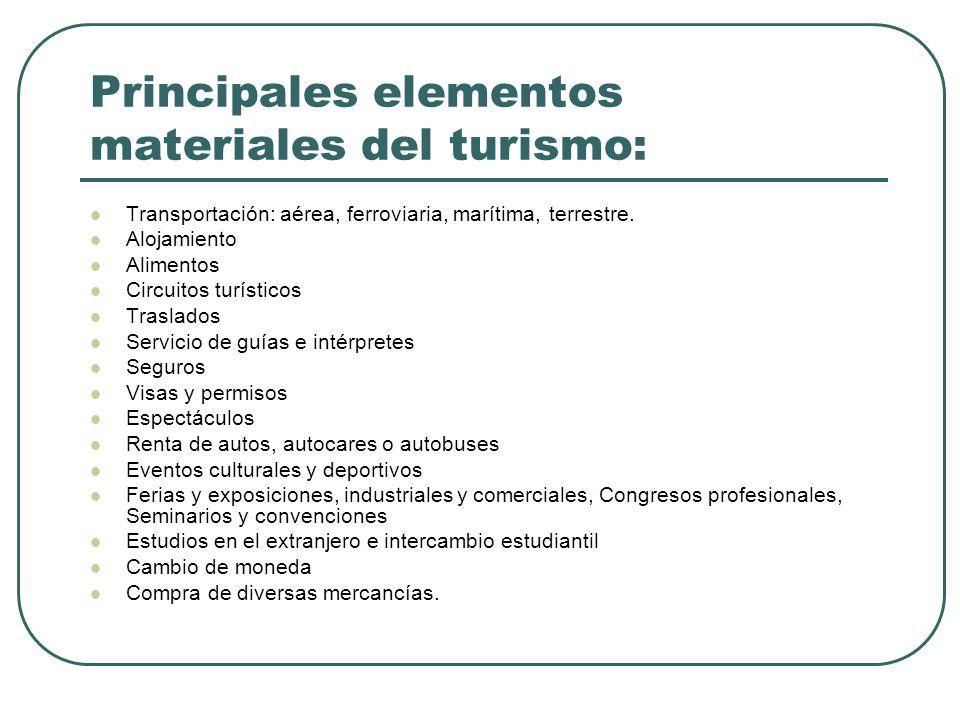 Principales elementos materiales del turismo: Transportación: aérea, ferroviaria, marítima, terrestre.