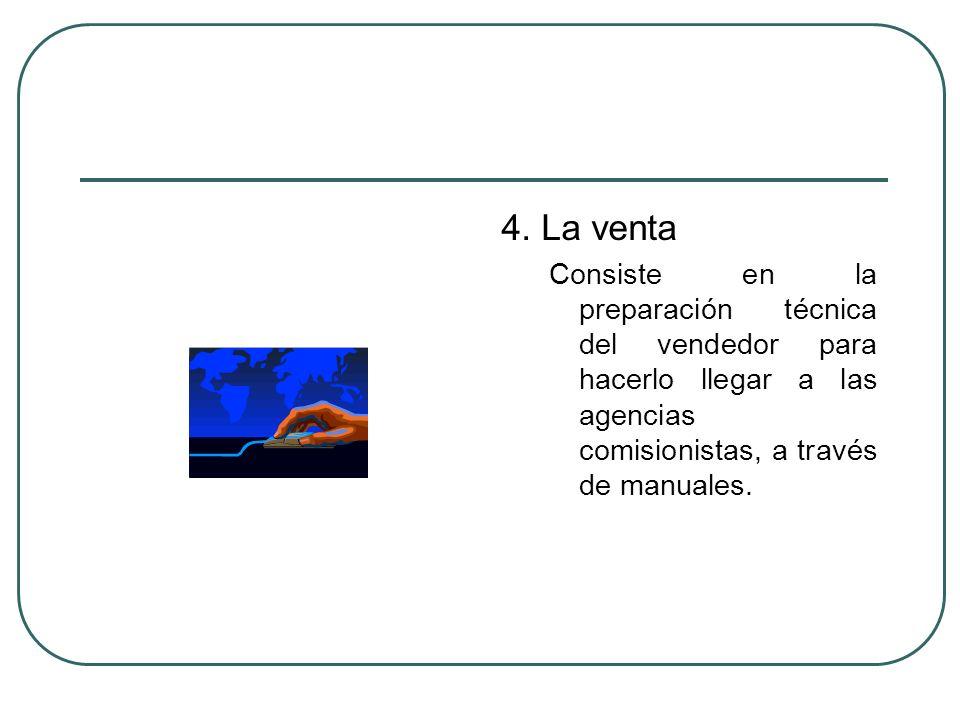 4. La venta Consiste en la preparación técnica del vendedor para hacerlo llegar a las agencias comisionistas, a través de manuales.