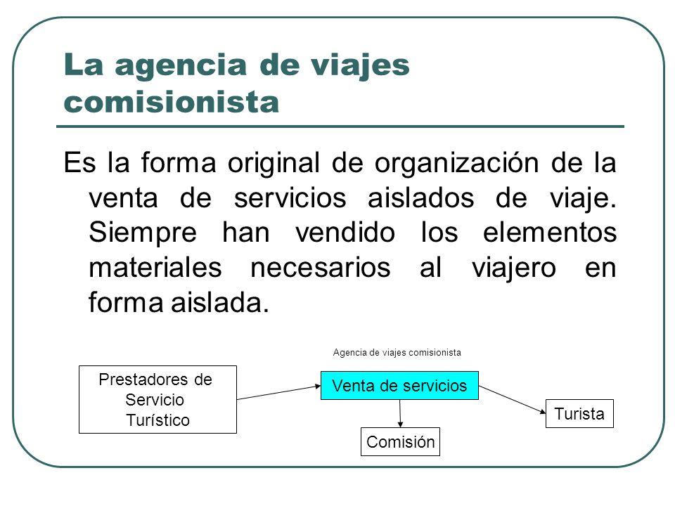 La agencia de viajes comisionista Es la forma original de organización de la venta de servicios aislados de viaje.