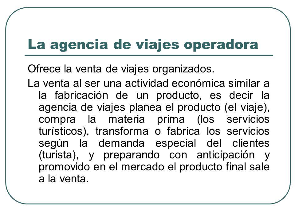 La agencia de viajes operadora Ofrece la venta de viajes organizados.