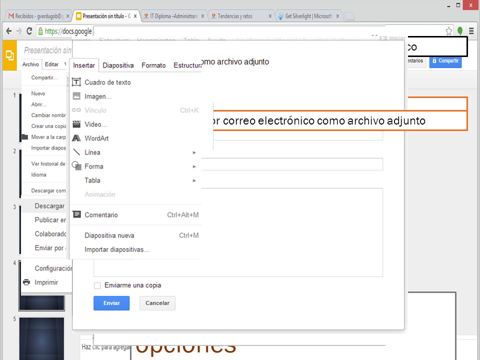 BARRA DE MENU Google Drive DOCENTE GUILLERMO VERDUGO BASTÍAS