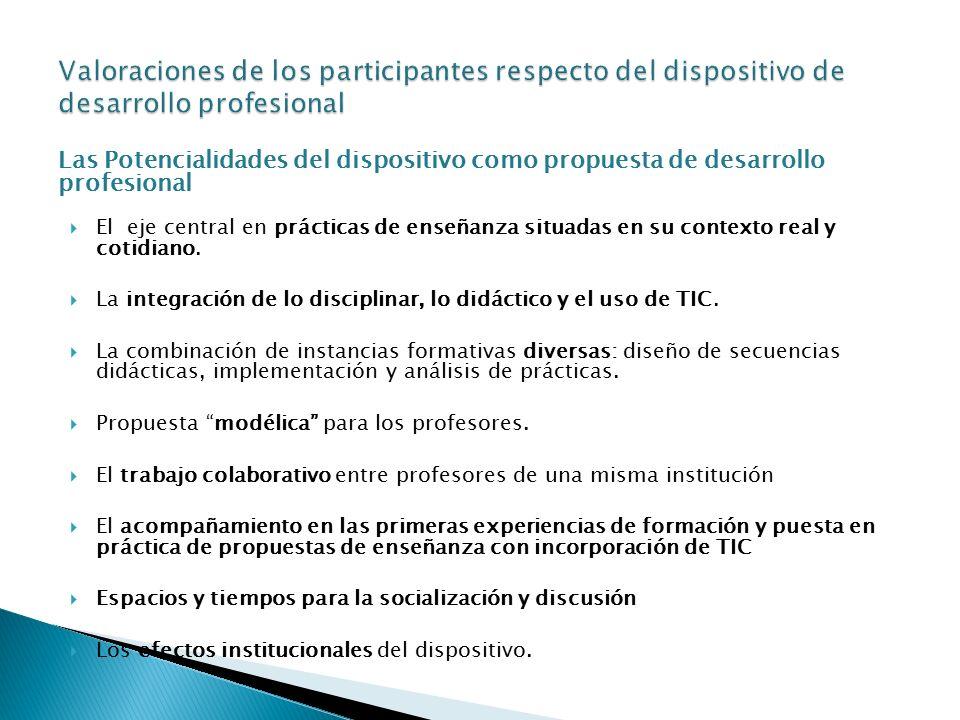 Las Potencialidades del dispositivo como propuesta de desarrollo profesional  El eje central en prácticas de enseñanza situadas en su contexto real y cotidiano.