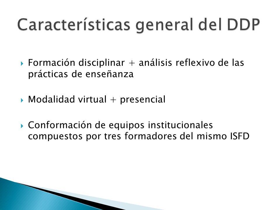  Formación disciplinar + análisis reflexivo de las prácticas de enseñanza  Modalidad virtual + presencial  Conformación de equipos institucionales compuestos por tres formadores del mismo ISFD