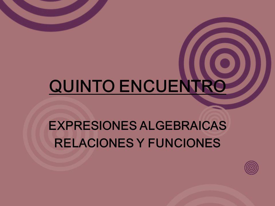 QUINTO ENCUENTRO EXPRESIONES ALGEBRAICAS RELACIONES Y FUNCIONES