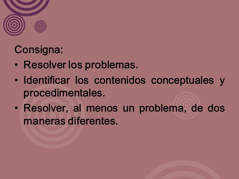 Consigna: Resolver los problemas. Identificar los contenidos conceptuales y procedimentales.