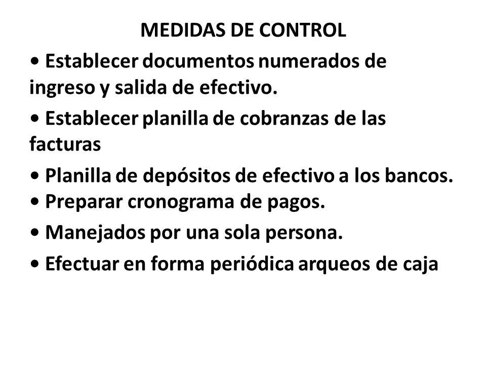 MEDIDAS DE CONTROL Establecer documentos numerados de ingreso y salida de efectivo. Establecer planilla de cobranzas de las facturas Planilla de depós