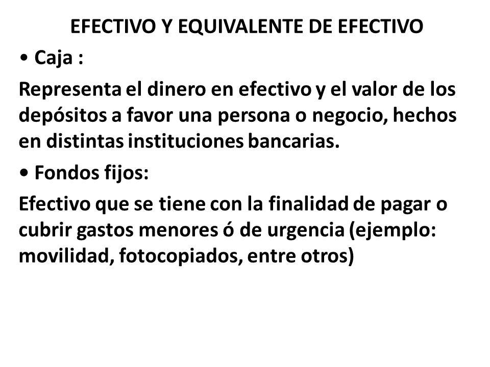EFECTIVO Y EQUIVALENTE DE EFECTIVO Caja : Representa el dinero en efectivo y el valor de los depósitos a favor una persona o negocio, hechos en distin