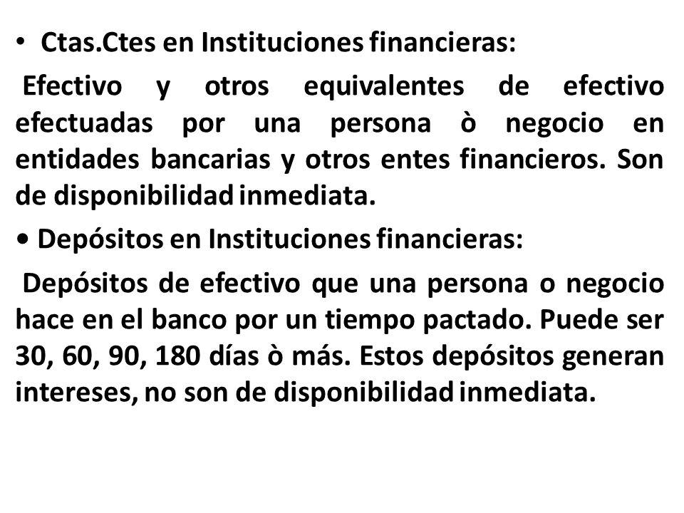 Ctas.Ctes en Instituciones financieras: Efectivo y otros equivalentes de efectivo efectuadas por una persona ò negocio en entidades bancarias y otros